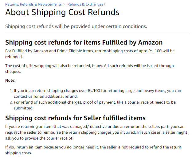 amazon shipping cost refund