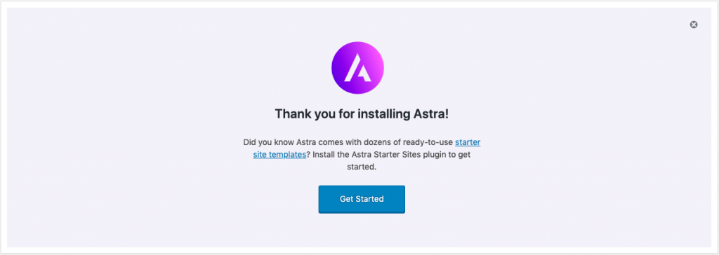 Install & activate Astra theme plugins to start designing your free e-commerce website