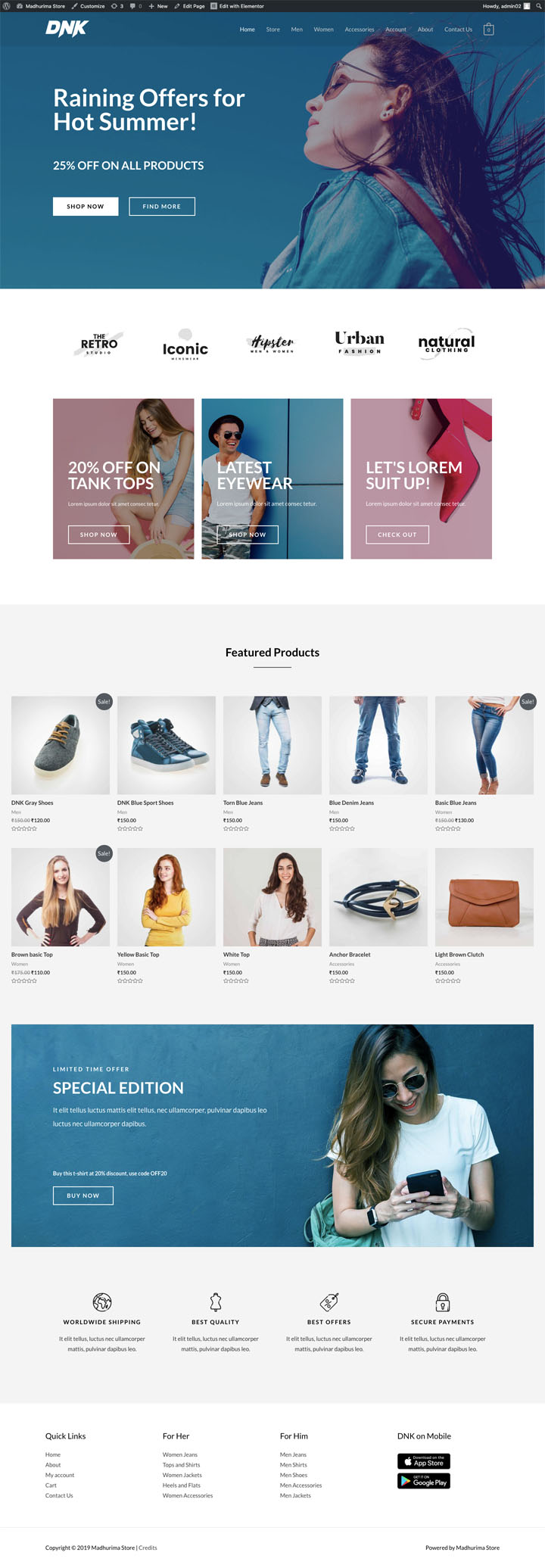 free e-commerce store template by Astra theme